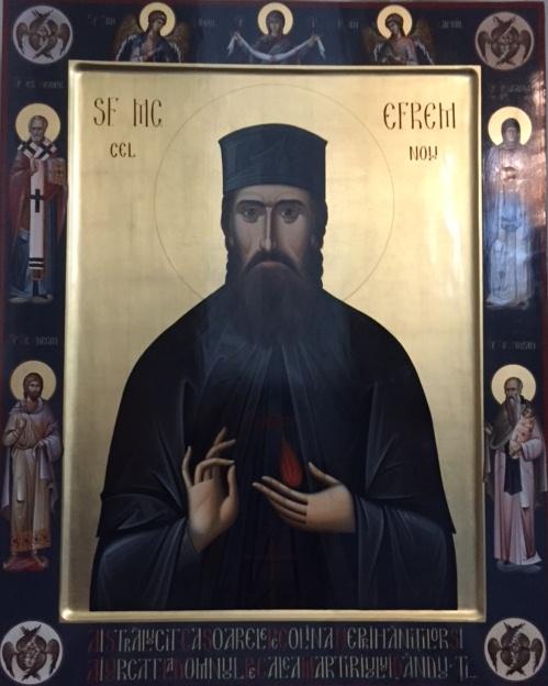 Icoana Sfântului Efrem cel Nou din Biserica Sfântul Nicolae din Bruxelles